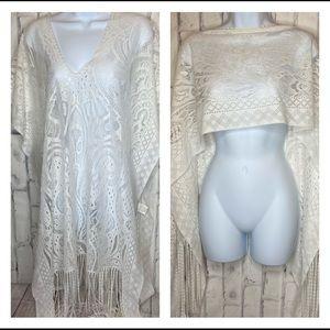 SHEN off-white lace fringe lightweight poncho wrap